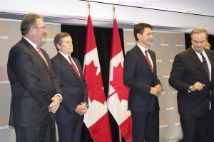 Jim Smith, CEO, Thomson Reuters shared the stage with Toronto mayor John Tory and Prime Minister Justin Trudeau at the announcement of the creation of a new technology centre and expansion of Thomson Reuters corporate presence in Toronto.